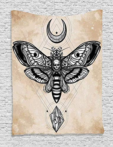Yhjdcc Tapiz de mandala, diseño bohemio, diseño de calavera, luna, mariposa, para colgar en la pared, tapiz impreso, cojín de yoga, manta de viaje, 150 cm x 200 cm