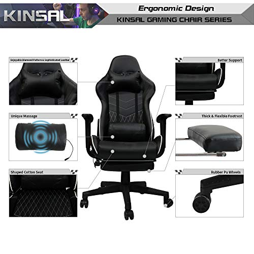 Kinsal Ergonomic High-Back Large Size Gaming Chair with Massage Function, Office Desk Chair Swivel Black PC Gaming Chair with Extra Soft Headrest, Lumbar Support and Retractible Footrest (Black)