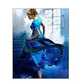 ZXDA Imágenes de Bricolaje por números, Kits de Ballet para niñas, Lienzo de Dibujo, Pintura al óleo Pintada a Mano por número, Figura de Bailarina, decoración del hogar A12, 50x65cm