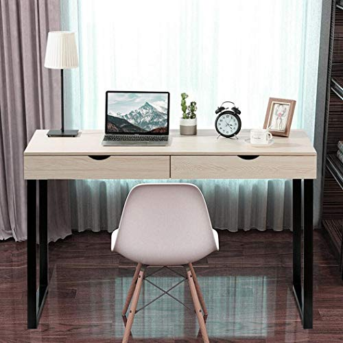 47inch Computer Desk with 2 Large Drawers, Modern Simple Style Desk for Home Office, Sturdy Writing Desk Workstation