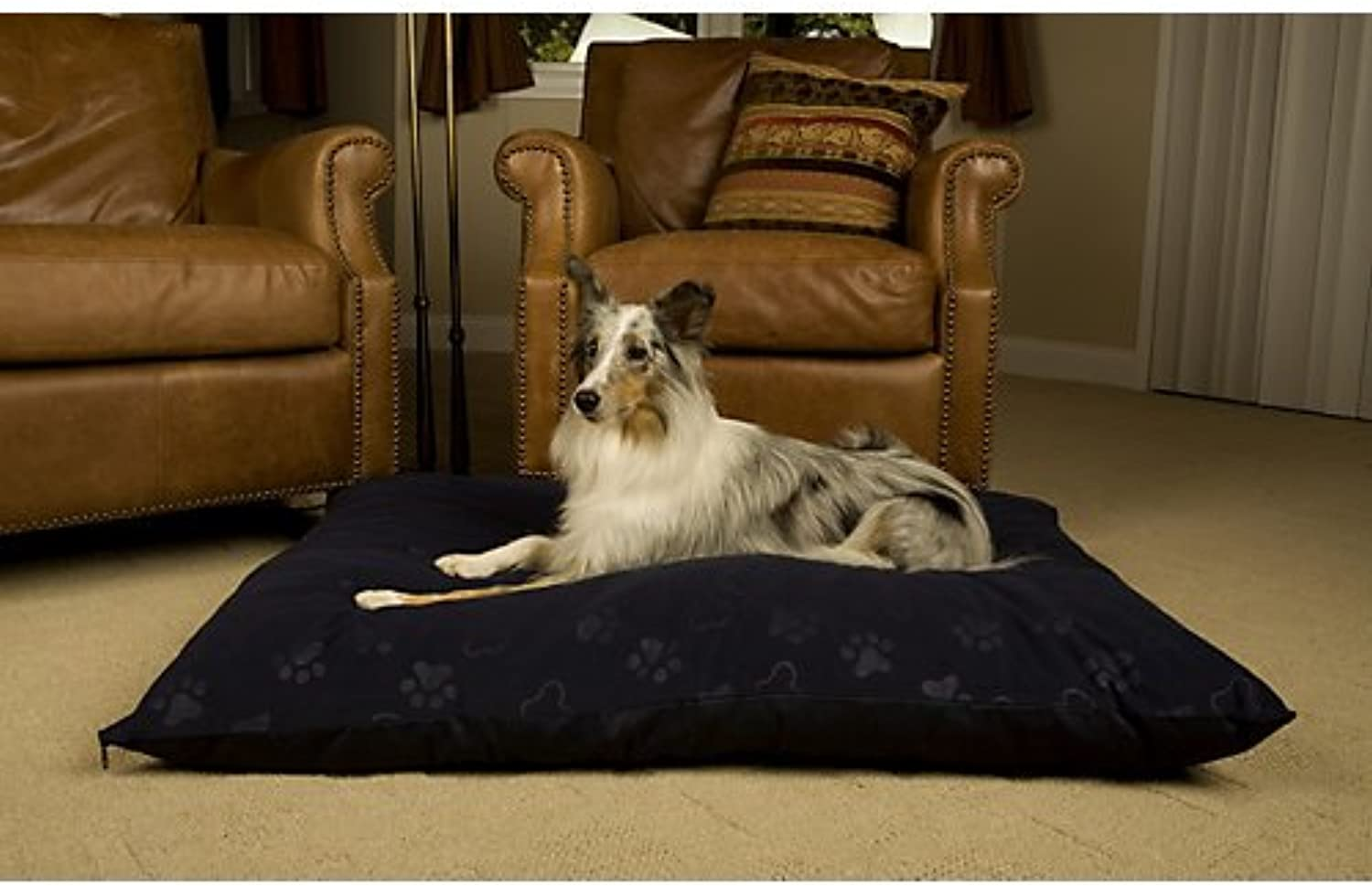 Midwest Quiet Time e'Sensuals Memory Foam Pet Beds 36Inch by 48Inch Embossed Paw Print   Bone Design (Burgundy)