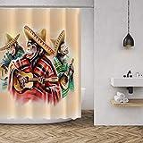 MuaToo Wasserdichter Stoff-Duschvorhang, Badezimmer-Dekoration, lustiger Affe spielt Gitarre, bedruckt, 183 x 183 cm, Braun