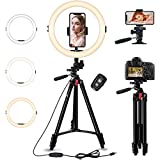 GooFoto 11' Selfie Ring Light with Tripod & Phone Holder, Dimmable Ringlight with 3 Lighting Modes & 10-Level Brightness for Live Stream/Makeup/YouTube/TIK Tok/Photography