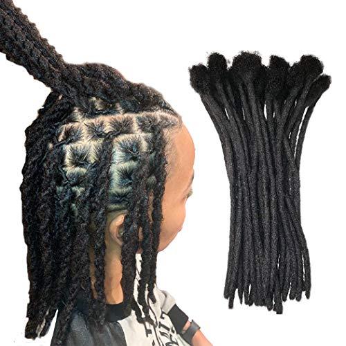 Yotchoi 100% Human Hair Dreadlocks Extension Handmade Locs Small Size(diameter 0.4cm) 8inch 30 Strands/pack Natural Black #1B