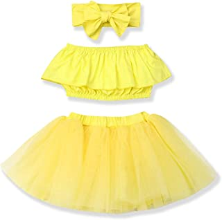 YOUNGER TREE Newborn Baby Girl Outfits Clothing Kids Cute Ruffle Tube Top +Tulle Tutu Skirt Dress Headband 3Pcs Clothes Sets