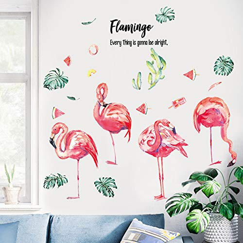 CFLEGEND Flamingo Sticker Mural Fille Coeur Disposition De La Chambre Chaude Petit Ornement De Papier Peint Dortoir 90X72Cm