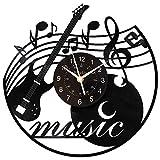 KingLive Vinyl Wall Clock, Music Vinyl Record Clock Music Instrument Wall Art Black12 Inch for Living Room Beedroom