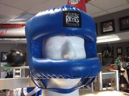 CLETO REYES Redesigned Leather Boxing Headgear with Nylon Face Bar - Blue