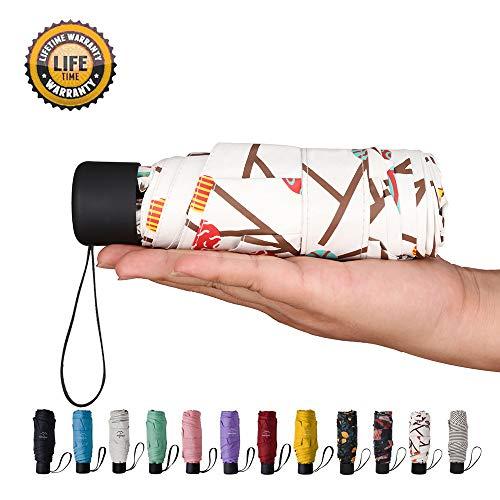 Goothdurs Mini Travel Compact Umbrella –Small Lightweight Folding Sun Umbrella with 95% UV Protection for Men & Women