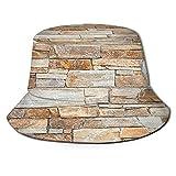 Sombreros de Cubo Plegables,Muro De Piedra De Piedras Naturales En Difere,Sombrero de Pescador Unisex con protección UV,Gorra de Playa para el Sol,Sombreros de Viaje de Verano para Hombres y Mujeres