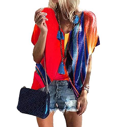 Mayntop Camiseta de verano para mujer con estampado de bloques de color, suelta, manga corta, mangas murciélago, cuello en V, blusa étnica, A-rojo, 40