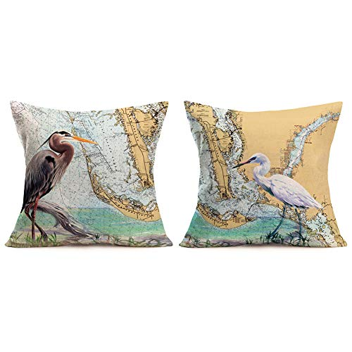 Xihomeli Set of 2 Throw Pillow Cover Herons & White Egret Watercolor Painting Bird Walk by The Sea with Retro River Map Background Design Cotton Linen Cushion Case 18' x 18' Pillowcase (2 Pack Herons)