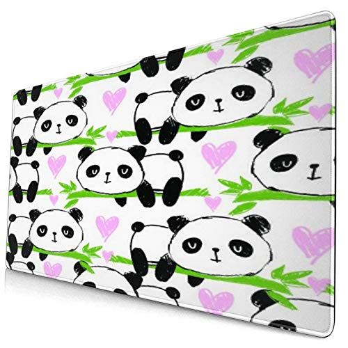 """Extra Large Gaming Mouse Pad with Stitched Edges,Cute Pandas and Bamboo,Non-Slip Rubber Base Computer Keyboard Mat,29.5"""" x 15.8"""""""