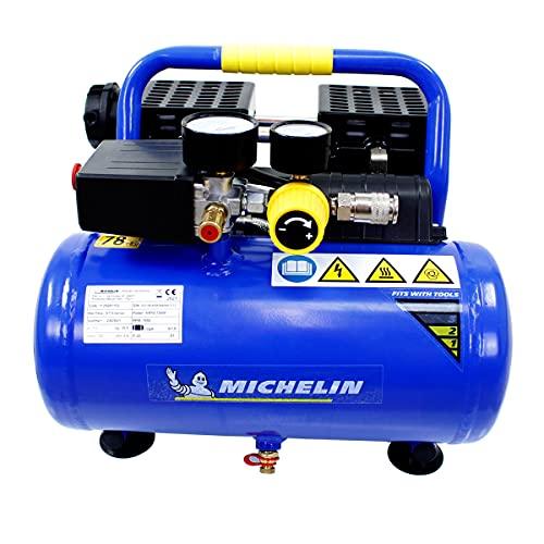 Michelin Druckluft Kompressor MX6 1 leise mobil tragbar ölfrei (Anschluss 230V, Max Druck 8 bar, Tank 6 l, Abgabeleistung: 130 l/min, Leistungsaufnahme: 1Ps, Schalldruckpegel 59 dB(A)