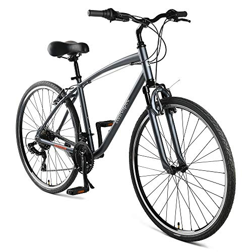"""Retrospec Barron Comfort Hybrid Bike 21-Speed with Front Suspension and 700c Wheels with Multi-Surface Tires; 20"""" Large, Graphite"""