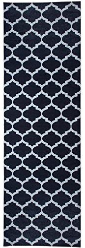 Mylife Rugs Contemporary Morroccan Trellis Design Non Slip (Non-Skid) Machine Washable Runner Rug (2'7x7'7, Black - White)