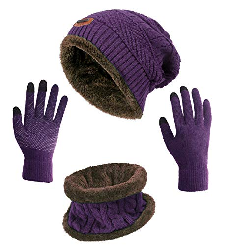 HINDAWI Winter Hat Scarf Gloves Set for Women Slouchy Beanie Snow Knit Skull Caps Outdoor Infinity Round Scarves Touch Screen Mittens
