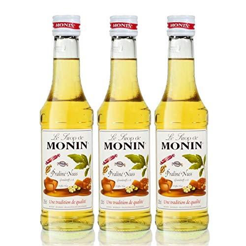 3x Monin Praline Nuss Sirup, 250 ml Flasche