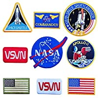 lihe008 スター刺繍布ステッカースペース服の視差ステッカー子供服刺繍爪宇宙飛行士の布9ピース