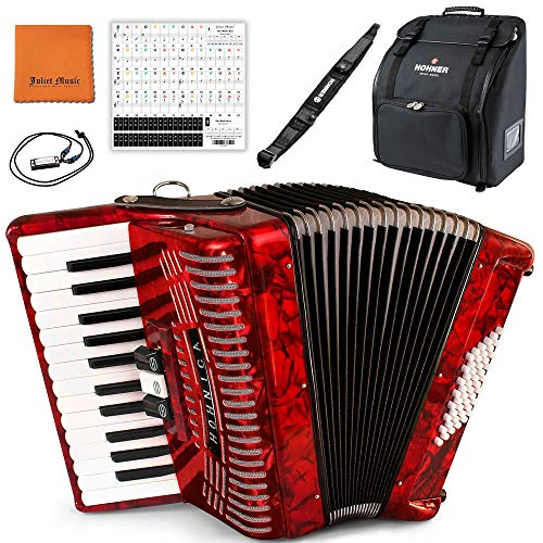 Hohner Accordions 1304-RED 48 Bass Entry Level Piano Accordion Bundle with Hohner Bag, Strap, Mini Harmonica, Juliet Music Polish Cloth & Piano Key Stickers