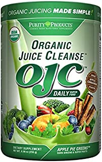 Certified Organic Juice Cleanse - (OJC) - Apple Pie Greens - (8.99 oz - 255 g) from Purity Products - A Powerhouse of Beneficial Nutrients - Organic Antioxidant Phytonutrient and Spice Blend