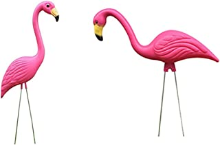 MIYU Pack Of 2 Plastic Pink Flamingo Figurines Garden Stakes Garden Statues For Outdoor Decor