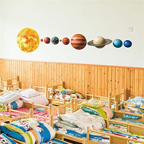 Système solaire dessin animé sticker mural chambre chambre d'enfants étoiles univers planète terre soleil Saturne mars décoration90X 60 cm