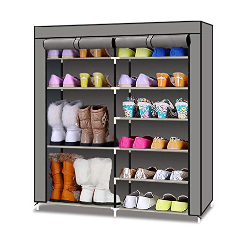 TXT&BAZ 20-Pairs Portable Boot Rack Double Row Shoe Rack Covered with Nonwoven Fabric7-Tiers Grey