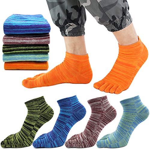 MOAMUN 5 Paar Frühling Fünf Finger Zehensocken Für Männer Frauen Baumwolle, Damen Casual Low Cut Socken Weich & Atmungsaktiv (Männer)