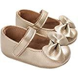 AMSDAMA Girl Baby Shoes Infant Non-Slip Rubber Sole PU Soft Leather with Bowknot Mary Jane Shoes Flats Toddler (Rubber Sole/Gold D19,6 Months)
