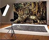 Fondos de fondo de vinilo para fotografa de fantasa, de 1,5 x 9,2 m, casa de cuento de hadas en tronco de rbol con farolas, historias folclricas, diseo temtico, fondo para fotografa
