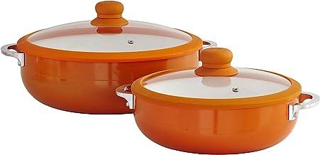 IMUSA USA 2 Piece Orange Ceramic Interior Caldero Set with Orange Silicone Rim and Glass Lid