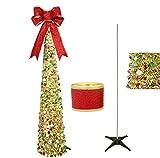Awtlife Gold 150 cm Pop up Christmas Tinsel Tree, magnífico árbol de Navidad Artificial Plegable y Cinta para Navidad Decora