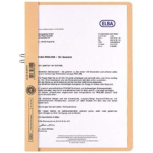 Elba 400001027 Klemmhandmappe, DIN A4, ohne Vorderdeckel, orange