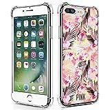UZEUZA Funda transparente compatible con iPhone 7/8 Plus, diseño de hojas de palma Victoria Secret para iPhone 7/8 Plus, color blanco transparente