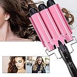 Rizador de pelo.3 rizadores de pelo de barriles para cabello largo / corto, turmalina cerámica temperatura ajustable triple tubo rizador de cabello herramienta de peinado (28MM)
