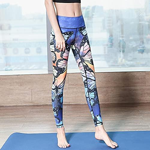 Leggings Mujer,Red Red High Cintura Running Pantalones de yoga Pantalones femeninos apretados Fitness con vistos de cadera Espolvorear Imprimir Nueve Puntos Pantalones florales de yoga elástica-08 ma