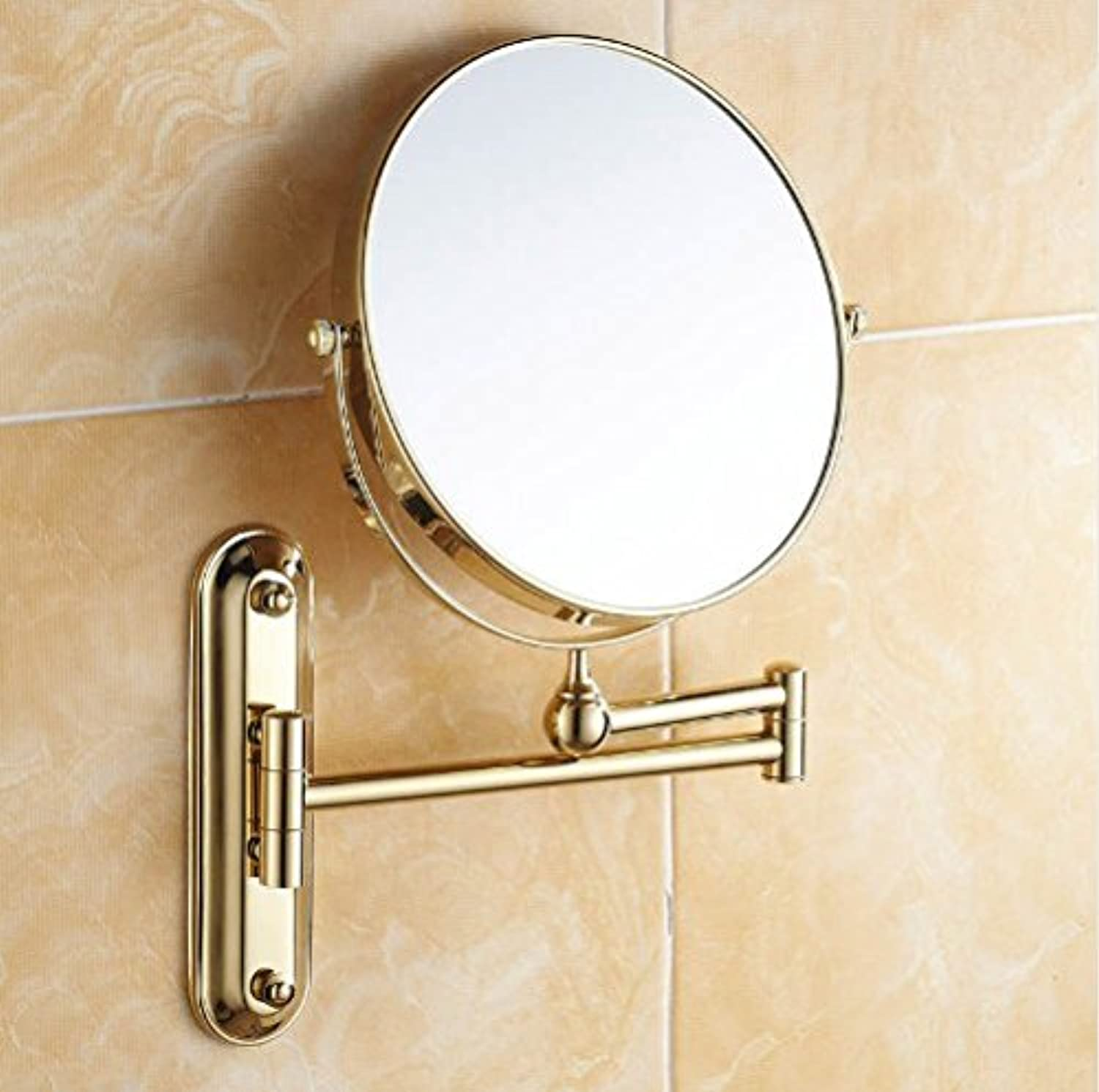 GOWE gold Finish Wall Mount Bath Make up Mirror 8inch Dual Sides Mirror