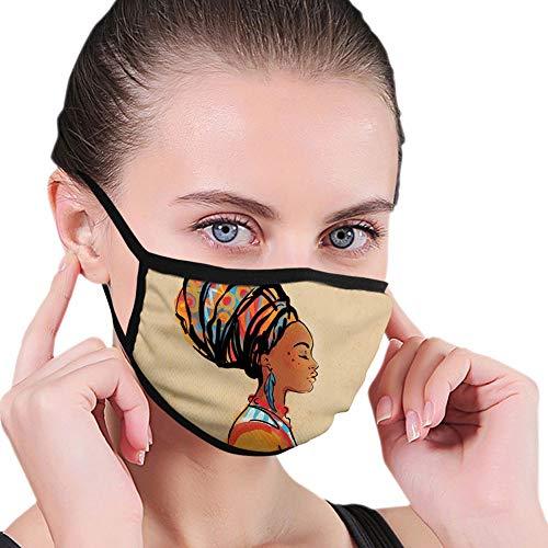 Cubierta facial cómoda a prueba de viento, mujer étnica con pendiente de plumas exóticas y bufanda Zulu Hippie Artwork,Decoraciones faciales impresas para personas