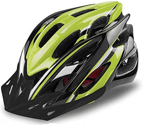 KINGLEAD Fahrradhelm mit LED-Licht, Unisex-geschützter Fahrradhelm für Radrennen Skateboardfahren im Freien Sicherheit Superleichter Verstellbarer mit CE-Zertifikat (Schwarz grün)