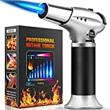 Culinary Butane Torch, Kitchen Refillable Butane Blow Torch with Safety Lock and Adjustable Flame for Crafts Cooking BBQ Baking Brulee Creme Desserts DIY Soldering (Butane Gas Not Included)