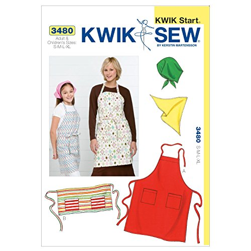 Kwik Sew K3480 Aprons and Scarf Sewing Pattern, Size S-M-L-XL