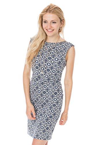 GoFuture Damen Umstandskleid Stillkleid 3in1 Gioia GF2305XJ in Blau mit Weiß Plus Muster