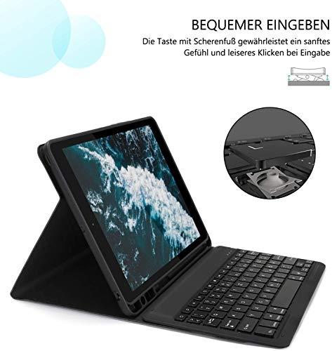 Jelly Comb Tastatur Hülle mit Maus für iPad 2020 10,2 (8. Gen)/iPad 2019 10,2(7. Gen), iPad Air 2019(3. Gen), iPad Pro 10,5 2017, QWERTZ Bluetooth Funktastatur mit Schützhülle und Funkmaus, Schwarz