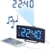 auvisio Projektionswecker: Projektions-Radiowecker mit Curved-Display, Dual-Alarm & USB-Ladeport (Digitalwecker)