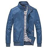 Nantersan Mens Casual Jacket Outdoor Sportswear Windbreaker Lightweight Bomber Jackets and Coats,Medium,Jk025 Blue