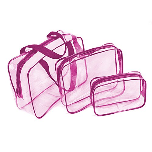 SHESHY Transparente Bolsa,Bolsa de Maquillaje, 3 en 1 Bolsas de Maquillaje de Regalo Estuches Bolsa de plástico Bolsa de Viaje de PVC Transparente Organizador para Hombres y Mujeres