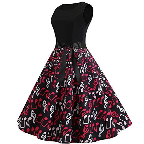 COZOCO Vestido Estampado sin Mangas con Estampado Estampado Estampado de Flores Vintage, Lindo y Sobrio, para...