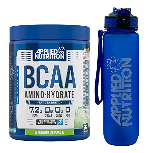 Applied Nutrition Bundle: BCAA Amino Hydrate Powder 450g + Lifestyle Water Bottle 1000ml | Branched Chain Amino Acids Supplement with Electrolytes, B Vits, Intra Workout & Recovery (Green Apple)