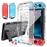 HEYSTOP Nintendo Switch Case Dockable Clear Protective Case Cover for Nintendo Switch And Joycon Controller with a Switch Tempered Glass Screen Protector And Thumb Stick Caps
